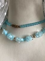1930s Style Glass Necklace Opalescent Opaline Blue Retro Vintage Screw Clasp Old