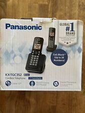 ✅ Panasonic KX- TGC352 Black Cordless Telephone 2 Handsets New Same Day Ship