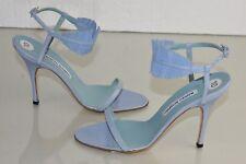 Nuevo Manolo Blahnik Sandalias Azul Claro Tacones Cuero Tiras Zapatos 40