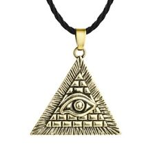 Egypt Egyptian Pyramid All Seeing Eye Of Horus Necklace Gold Rope Cord Gift Bag