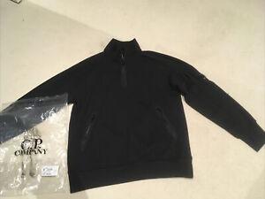 Men's C.P. Company Lens Quarter Zip Regular Fit Cotton Sweatshirt in Black