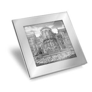 Silver Glass Coaster - BW - Glasgow University Scotland Building  #36974