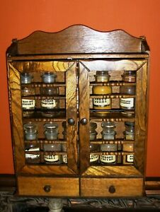 Wooden Spice Rack Cabinet Apothecary Curio Collection Medicine Cosmetics Kitchen