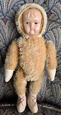 Antique Mohair Jointed Teddy Bear Doll Celluloid Face Schuco Steiff Bear Nice!