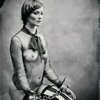 AJ BARNES Fine Art Erotica Antique Print Edition NUDE Bondage Girl w/ Handcuffs