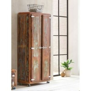 Cromer Retro style Reclaimed Wood Wardrobe Cabinet 1.8m on wheel (MADE TO ORDER)