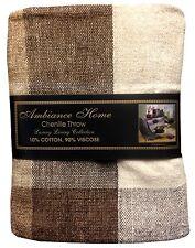 Chenille natural 150cm X 190cm 10% algodón, 90% Viscosa comprobado Tejida Con Borla Termina