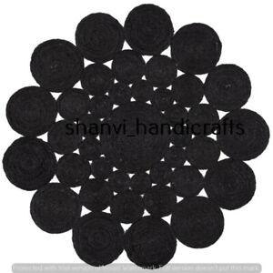 Bohemian Round Rug Black Color Jute Rug Braided Rug Jute Rug 3 Feet Area Rag Rug