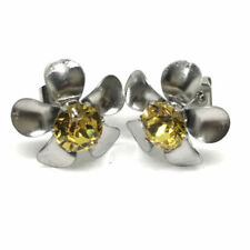 Topaz Round Crystal Costume Earrings