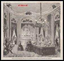 GRAVURE CHRISTOPHLE CHRISTOFLE SALLE D'EXPOSITION ARGENTERIE 1856 - 2H