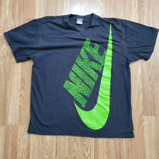 VTG 90s Gray Tag Nike Spell Out BIG Swoosh Logo Tee T Shirt Black XL Green