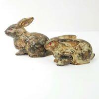 Vintage Ceramic Bunny Rabbit Figurines Pair Set of 2 Brown Red Eyes Made Japan