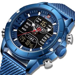 Herren Armbanduhr Chroghraph Sportuhr Edelstahl Quarz Datum Milaneseband blau