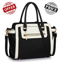 Ladies BLACK WHITE Designer Handbag Women's Faux Leather Shoulder Tote Bag Large