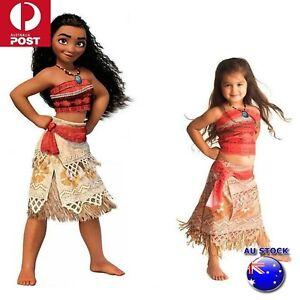 Kid's Moana Princess Girl Fancy Costume Cosplay Hawaiian Dress Set Gift
