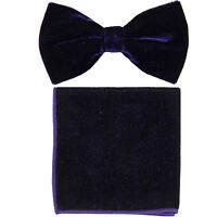 New in box formal men's pre tied Bow tie & Pocket Square Hankie Velvet Purple