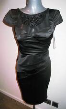 LIPSY Black Satin Wiggle Dress with Bead Embellished Neckline - BNWT RRP £70 - 8
