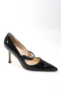 Manolo Blahnik Womens Stiletto Heel Pointed Toe Pumps Black Patent Leather 40