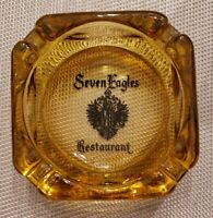 """Seven Eagles Restaurant Clear Amber Glass 4"""" Square Ashtray Mid Century Vintage"""
