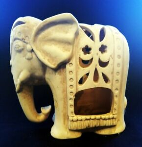 Pierced Pottery Elephant Tealight Holder 17cm Tall | FREE Delivery UK*
