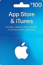 iTunes gift card 100.00 Dollars