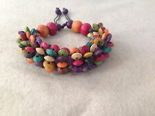 Adjustable Urban Hippie Gypsy Colorful Wooden Bead Beaded Chunky Wood Bracelet