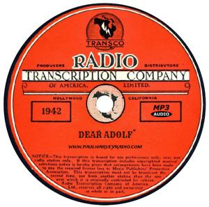 DEAR ADOLF (6 SHOWS) OLD TIME RADIO MP3 CD