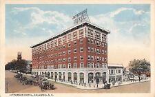 Columbia South Carolina~Jefferson Hotel~Storefronts & Homes Down Street~1916 PC