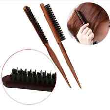 SALON COMB HAIR TEASING BRUSH WOODEN HANDLE BACK COMB NATURAL BOAR BRISTLE FT