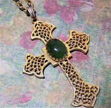 Vintage Hobe Green Jade Cabochon Cross Pendant Chunky Chain Necklace 317Hgz