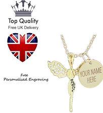 Schutzengel Anhänger Personalisierte Namen Halskette Vergoldet Swarovski