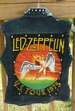 LED ZEPPELIN 1975 TOUR Punk Rock Denim Vest Studs Spikes Handmade S