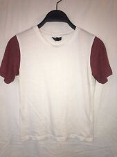 Topshop Uk 8 White & Red American Style Baseball T-shirt Cute Casual Tee