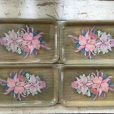 Vintage Set Of 4 Metal Serving T.V Trays Flowers With Woodgrain