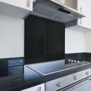 Toughened Printed Kitchen Glass Splashback - Bespoke Sizes - Black