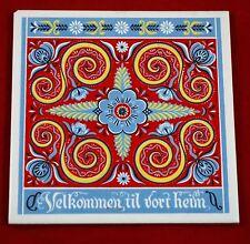 """Vintage Norwegian Rosemaling 6"""" Tile Trivet Folk Art """"Velkommen Til Vort Heim"""""""