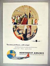 Northwest Airlines PRINT AD - 1953 ~~ stewardess, double-deck Stratocruiser