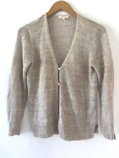 Eileen Fisher V Cardigan Sweater Organic Linen Oatmeal Tan Petite Small PS (K7)