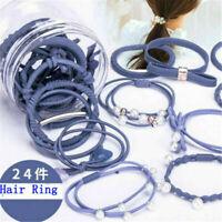 24Pcs Women Elastic Ponytail Holder Rope Hair Tie Ring Hairband Band