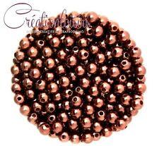 Lot de 100 petite perles ronde nacré acrylique marron 4 mm