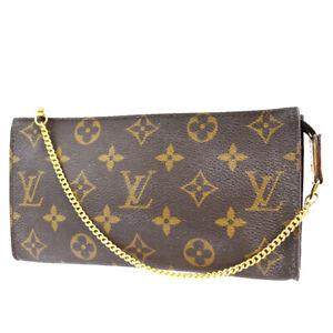 LOUIS VUITTON LV Bucket GM Chain Hand Pouch Bag Monogram Leather Brown 60BT888
