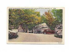 SMUGGLERS NOTCH ROADS BETWEEN GIANT BOULDERS GREEN MOUNTAIN VT 1937 LINEN PC