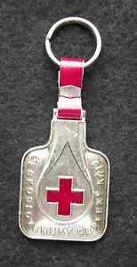 Czechoslovakia Red Cross CSCK State Insurance Blood Drop Logo Key Chain Keyring