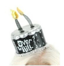 Over the Hill Birthday Cake Mini Hat Black Candles Silver Trim Vinyl Lace