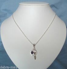 "Pentagram Earth Goddess Amethyst Gemstone Cluster Charm Pagan 18"" Necklace"
