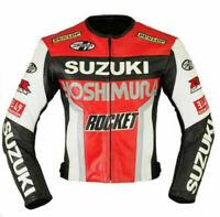 SUZUKI GSX MOTOGP MOTORCYCLE MOTORBIKE COWHIDE LEATHER BIKER SPORTS JACKET