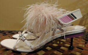 Prada Nude Satin Pink Feather Embellished Kitten Heel Slingback NEW $990 Size 40