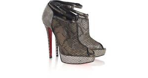 Christian Louboutins Pumps Brigette Grey Python Booties Heels 39,5 US 9