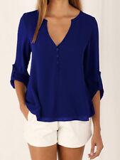 Women Summer Casual long sleeves Chiffon Tee T Shirt Blouse Loose Tops plus size