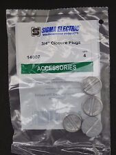 Bag of  4 ~ Sigma Electric Metal 3/4 inch Closure Plug ~ Gray